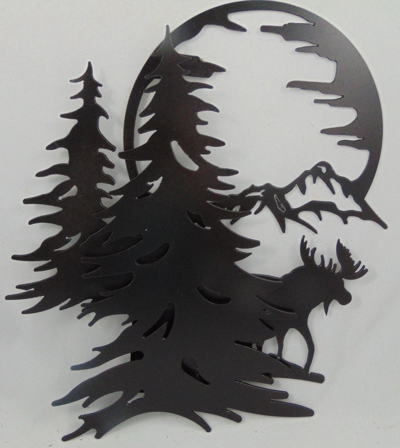 3-D Metal Moose Mountains Trees Moon Scene Wall Hanging / within Metal Pine Tree Wall Art