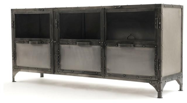 3-Door Metal Lcd Tv Stand - Industrial - Entertainment Centers And for Most Up-to-Date Industrial Metal Tv Stands