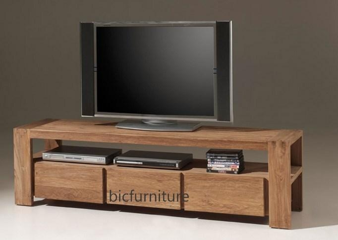 3 Drawer Stylish Tv Cabinet Made Of Teakwood | Bic Entertainment Units inside Current Wooden Tv Cabinets