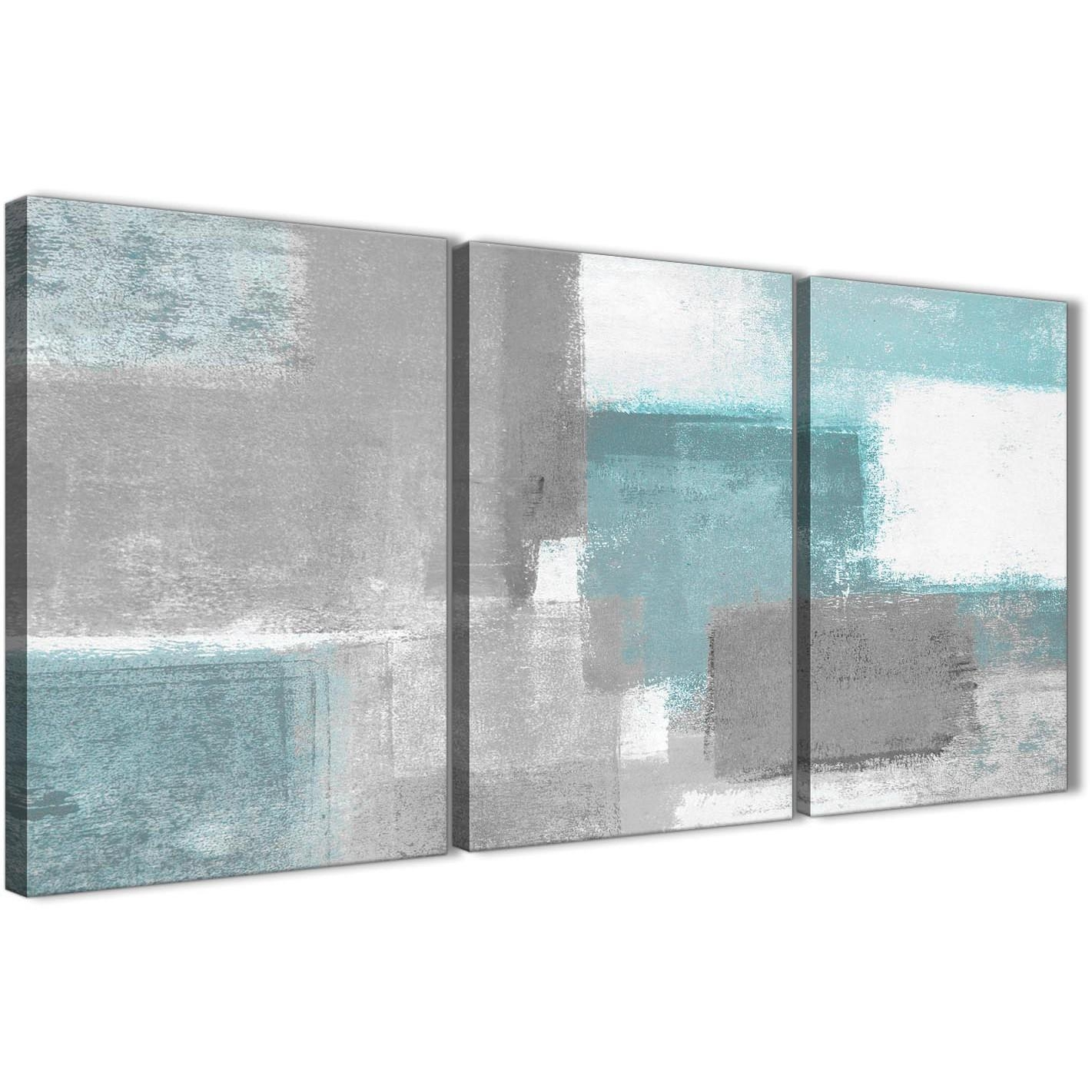 3 Panel Teal Grey Painting Living Room Canvas Wall Art Decor In Three Piece Canvas Wall Art (View 9 of 20)