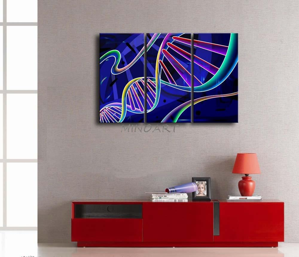 3 Piece Blue Wall Art Painting Dna Colorful Picture Print On Throughout Dna Wall Art (Image 1 of 20)