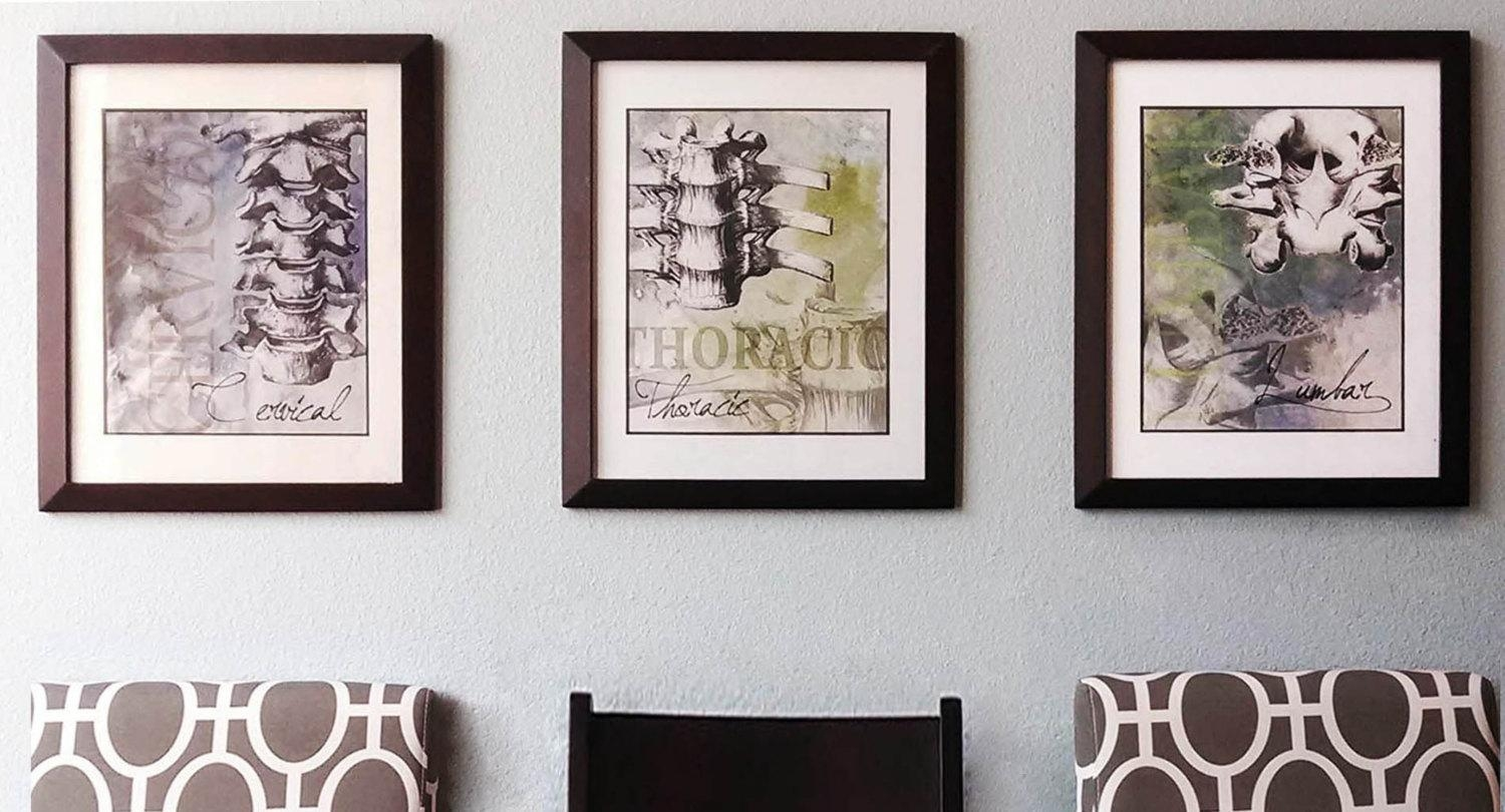 3 Piece Cervical Thoracic Lumbar Spine Chiropractic Artwork within Chiropractic Wall Art