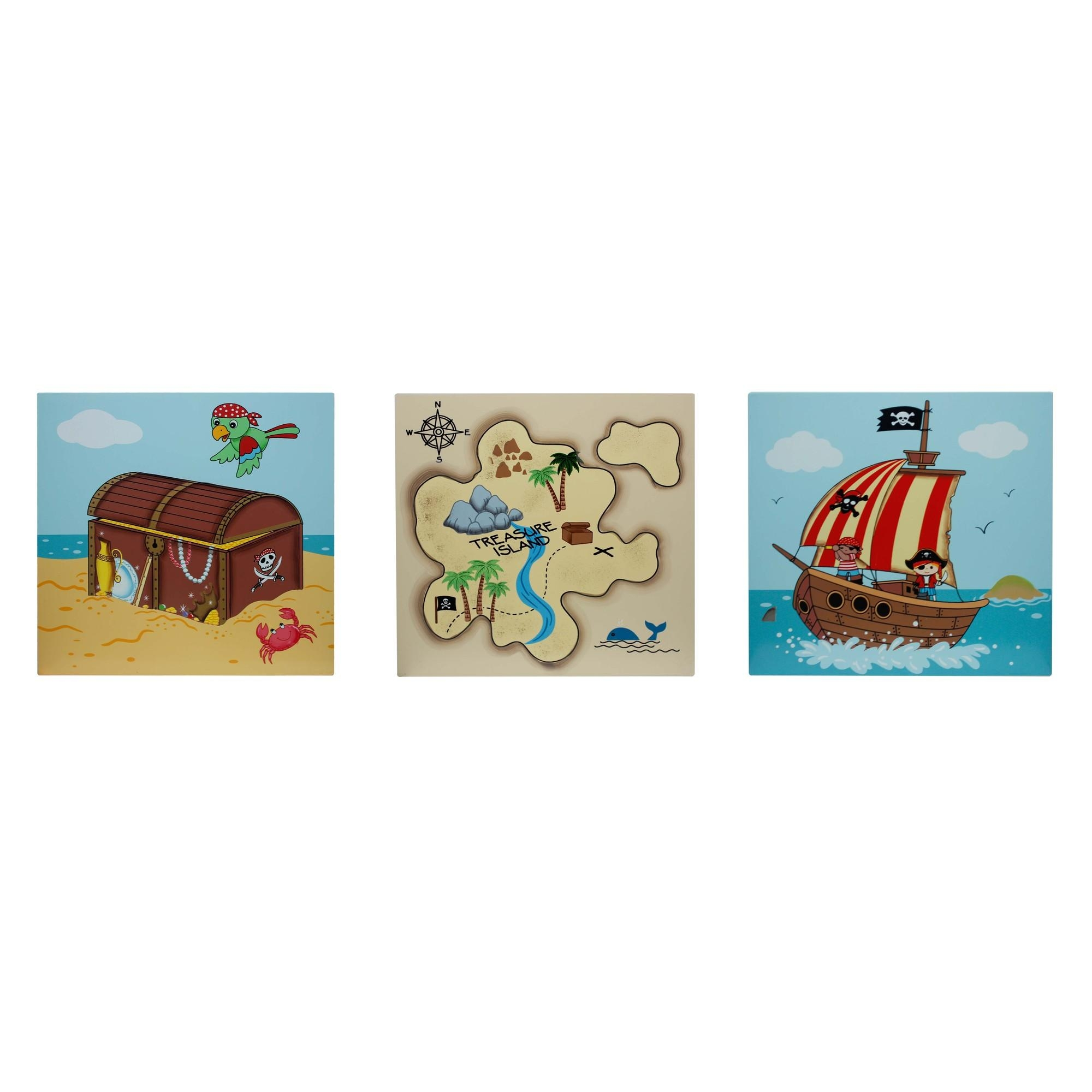 3 Piece Fantasy Fields Pirates Island Wall Art Set Throughout Wall Art Sets Of  (Image 2 of 20)