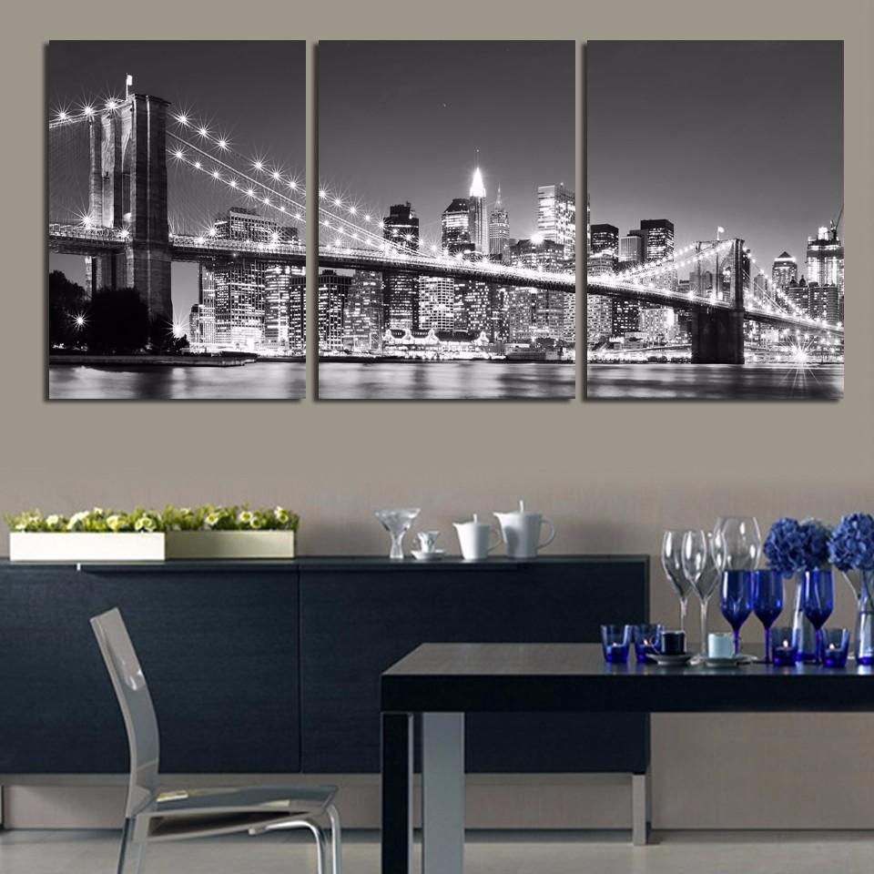 3 Piece Hot Sell Modern Wall Painting New York Brooklyn Bridge For Multi Piece Canvas Wall Art (Image 3 of 20)
