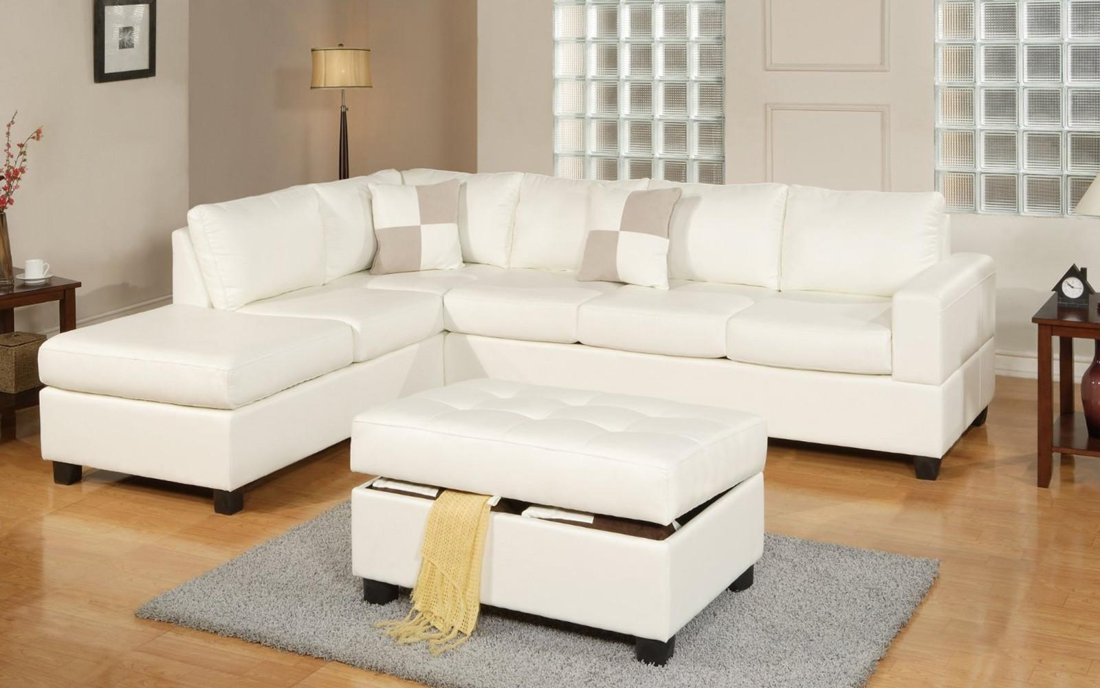 3 Piece Modern Reversible Tufted Bonded Leather Sectional Sofa With White Sectional Sofa For Sale (Image 1 of 21)