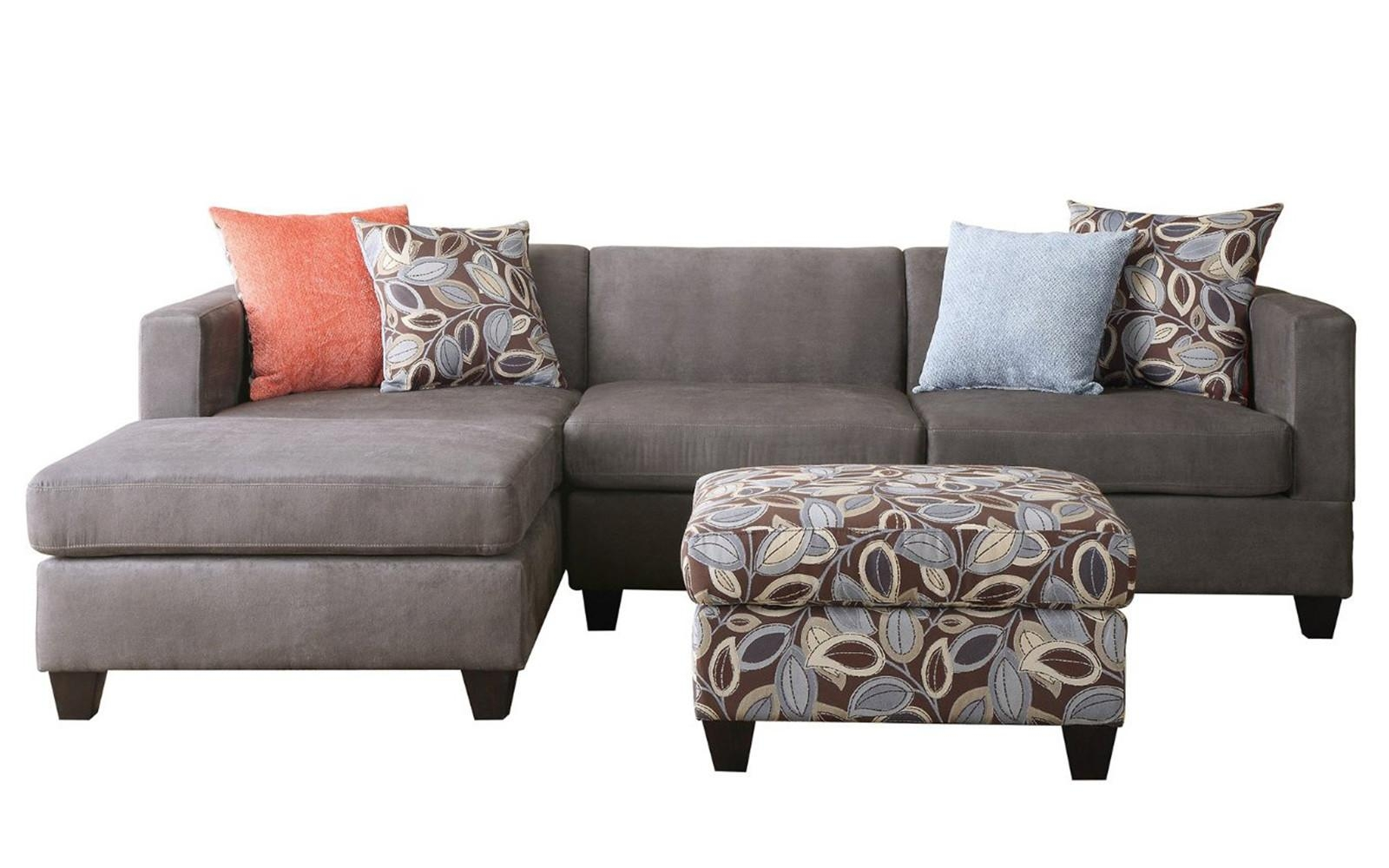 3 Piece Small Space Reversible Grey Microfiber Sectional Sofa With Within Small 2 Piece Sectional Sofas (Image 3 of 23)