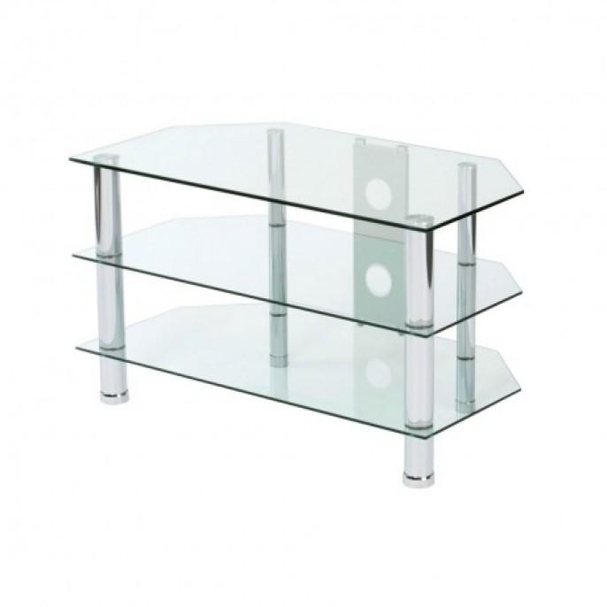 3 Tier Clear Glass Tv Stand | Poundstretcher For Recent Clear Glass Tv Stand (Image 2 of 20)