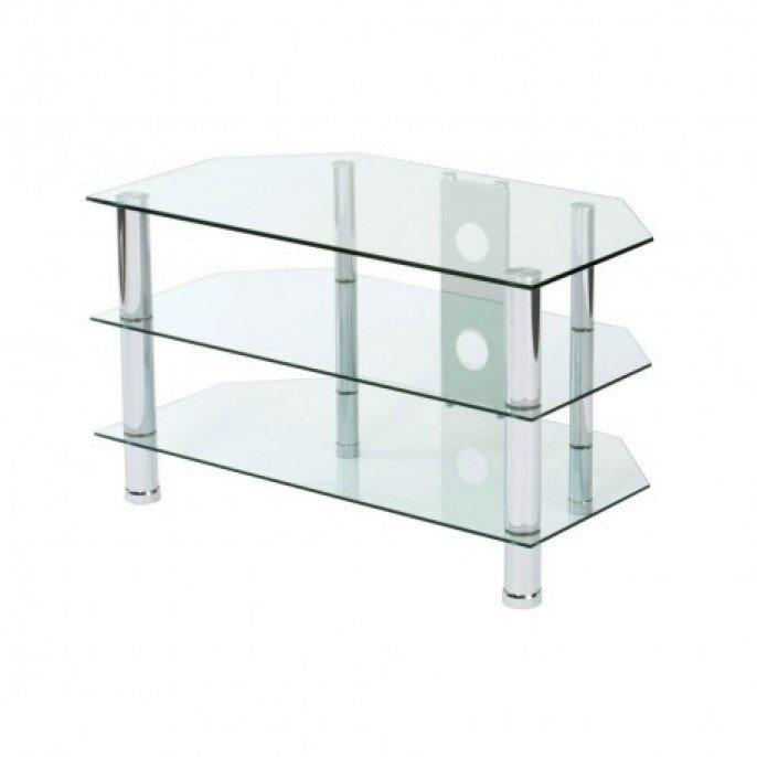 3 Tier Clear Glass Tv Stand | Poundstretcher Regarding Latest Glass Tv Stands (Image 1 of 20)