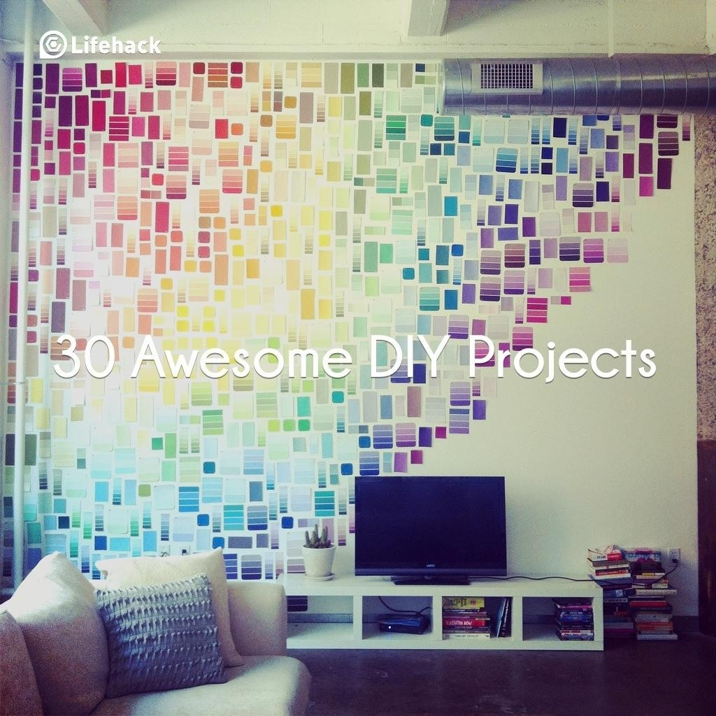 30 Awesome Diy Projects That You've Never Heard Of Intended For Paint Swatch Wall Art (Image 3 of 20)