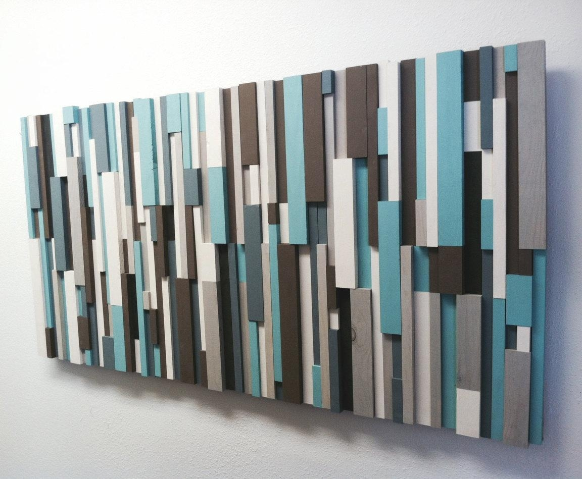 30% Off Modern Wood Art Cottage Chic Wood Strip Artwork within Turquoise Metal Wall Art