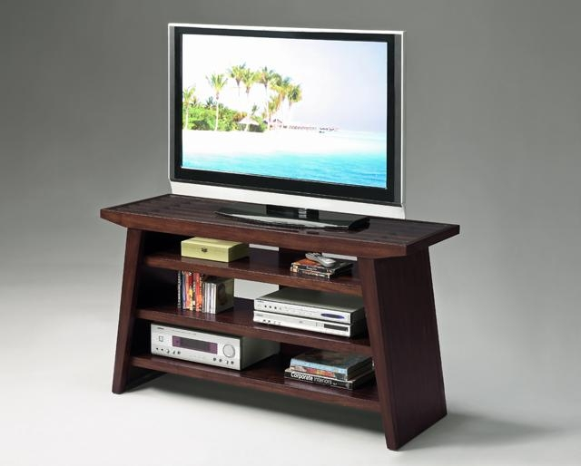 32''h Modern Design Wood Tv Stand Withtampered Glass Top Dark Inside Most Recent Cherry Wood Tv Stands (View 2 of 20)