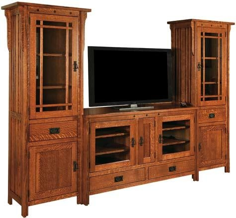 33% Off Royal Mission Tv Stand W/towers In Oak | Solid Wood Amish pertaining to Most Recent Solid Oak Tv Stands