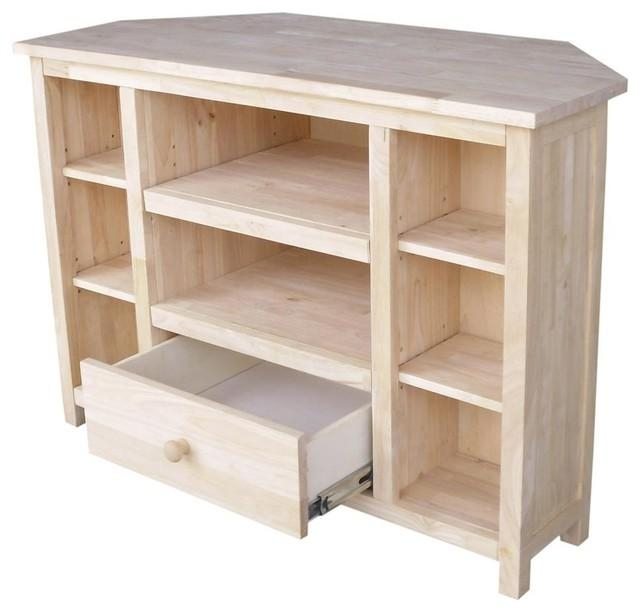 39 In. Corner Tv Stand - Beach Style - Entertainment Centers And for Most Current Wood Corner Tv Cabinets