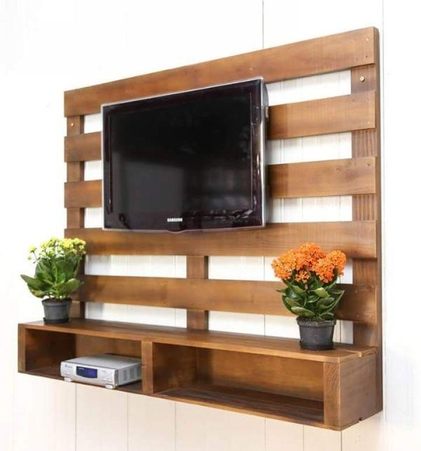 393 Best Pallet Tv Stands & Racks Images On Pinterest | Pallet For Most Popular Single Shelf Tv Stands (View 18 of 20)