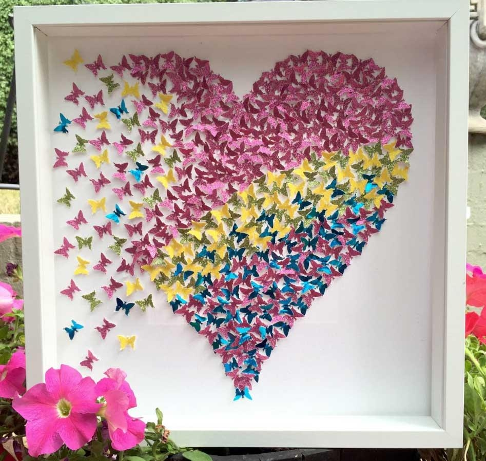 3D Butterfly Framed Wall Art Sparkly Light Pink | Home Interior Throughout 3D Butterfly Framed Wall Art (Image 5 of 20)