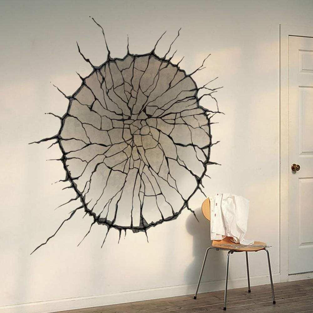 3D Cracked Wall Art Mural Decor Spider Web Wallpaper Decal Poster In 3D Printed Wall Art (Image 1 of 20)