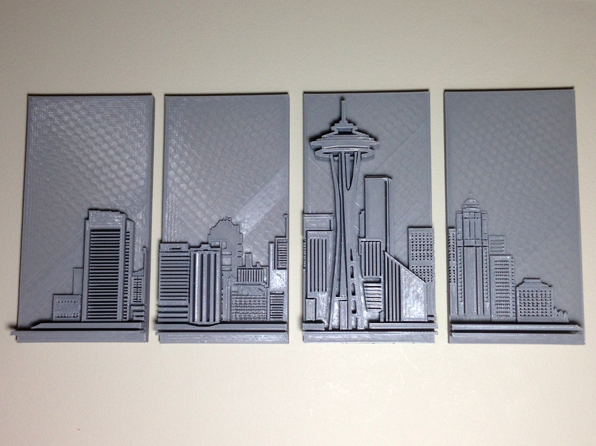 3D Printed Seattle Skyline Wall Art – 3D Printing Industry Throughout 3D Printed Wall Art (Image 5 of 20)