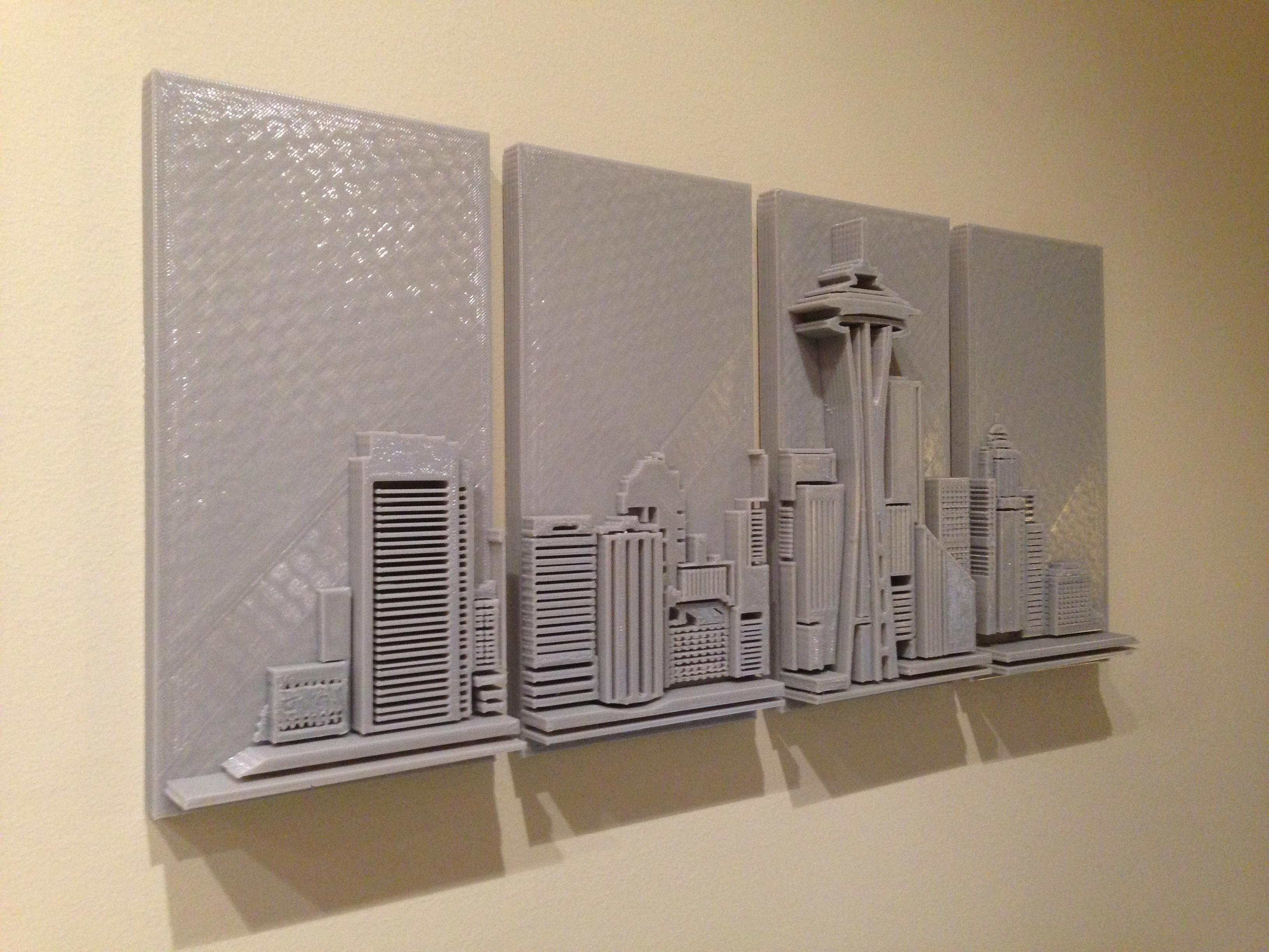 3D Printed Seattle Skyline – Wall Art – Imgur Intended For 3D Printed Wall Art (Image 3 of 20)