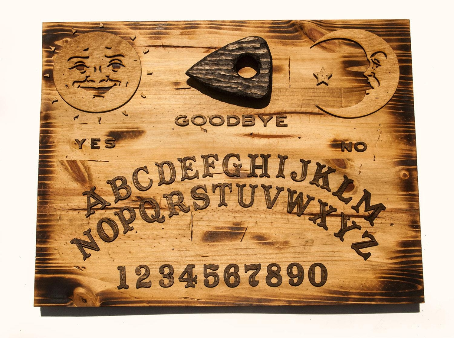 3D Sculptured Wall Hanging Wooden Ouija Board Art., Rustic, Sepia pertaining to Ouija Board Wall Art