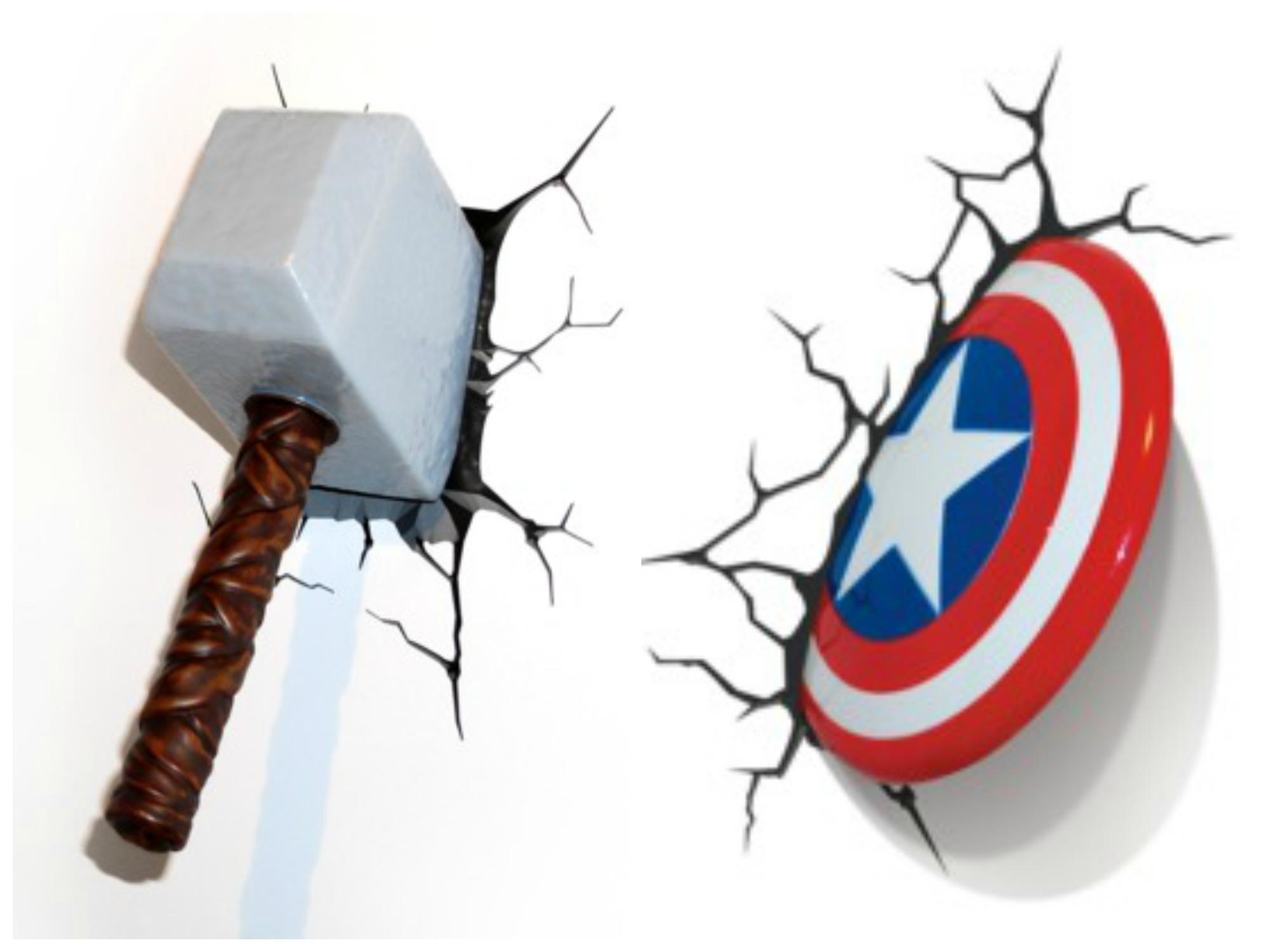 3D Wall Art Thor Hammer Night Light Uk | Wallartideas throughout 3D Wall Art Nightlight
