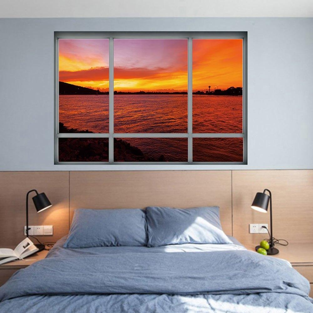 3D Window Sea Sunset Removable Wall Art Sticker In Dark Auburn for Auburn Wall Art