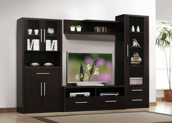 4 Pc Espresso Finish Wood regarding Most Up-to-Date Modern Tv Entertainment Centers