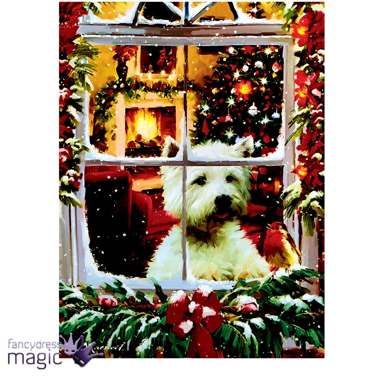 40 X 30Cm Christmas Animal Scene Led Canvas Battery Operated Cat with Westie Wall Art