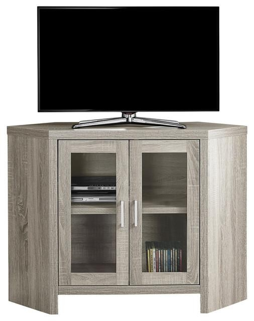 "42"" Corner Tv Stand With Glass Doors – Transitional Pertaining To Most Recent Grey Corner Tv Stands (Image 1 of 20)"