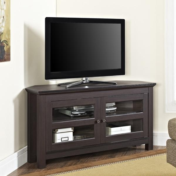 "44"" Espresso Corner Wood Tv Stand - Free Shipping Today intended for Newest Corner Tv Cabinets for Flat Screens"