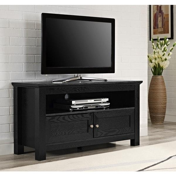 44 In. Black Wood Tv Stand - Free Shipping Today - Overstock with Most Current Wooden Tv Stands