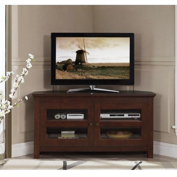 44 Inch Brown Wood Corner Tv Stand – Free Shipping Today For Latest Large Corner Tv Stands (Image 1 of 20)