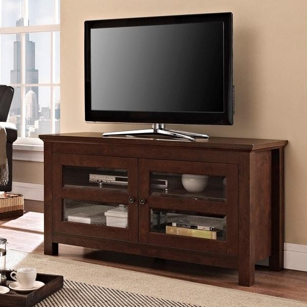 44 Inch Brown Wood Tv Stand – Free Shipping Today – Overstock In 2018 Wooden Tv Stands With Doors (View 16 of 20)