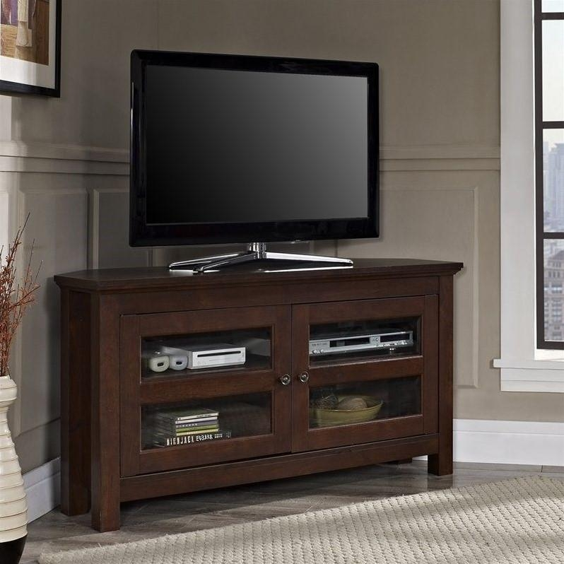 44 Inch Corner Wood Tv Console In Traditional Brown – Wq44Ccrtb Regarding 2017 Corner Wooden Tv Stands (Image 1 of 20)