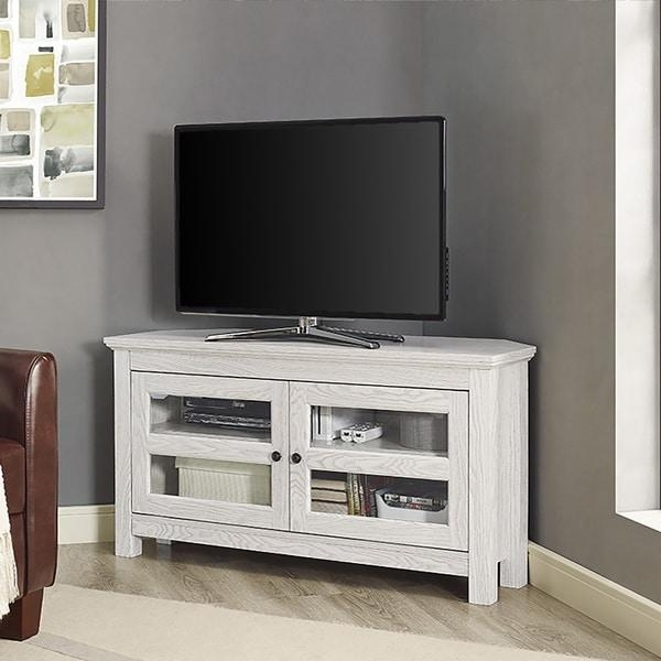 44-Inch White Wash Wood Corner Tv Stand - Free Shipping Today pertaining to Most Up-to-Date White Wood Corner Tv Stands