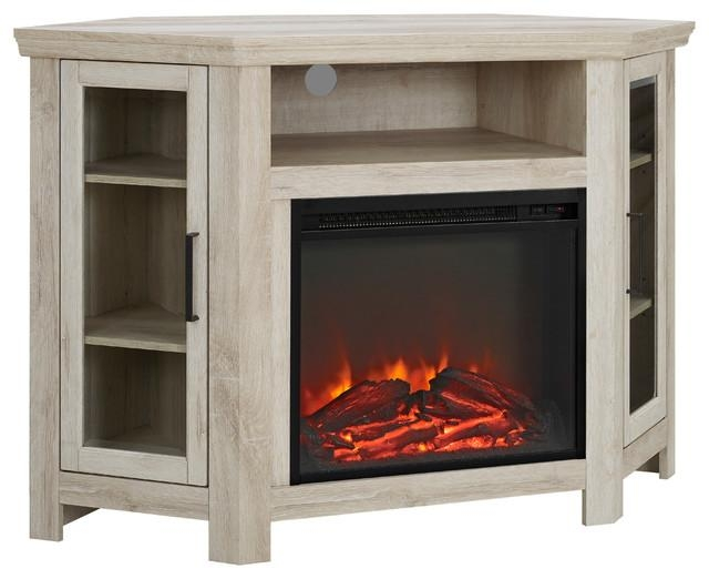 "48"" Wood Corner Fireplace Media Tv Stand Console – Farmhouse Within Most Up To Date Corner Oak Tv Stands (Image 4 of 20)"