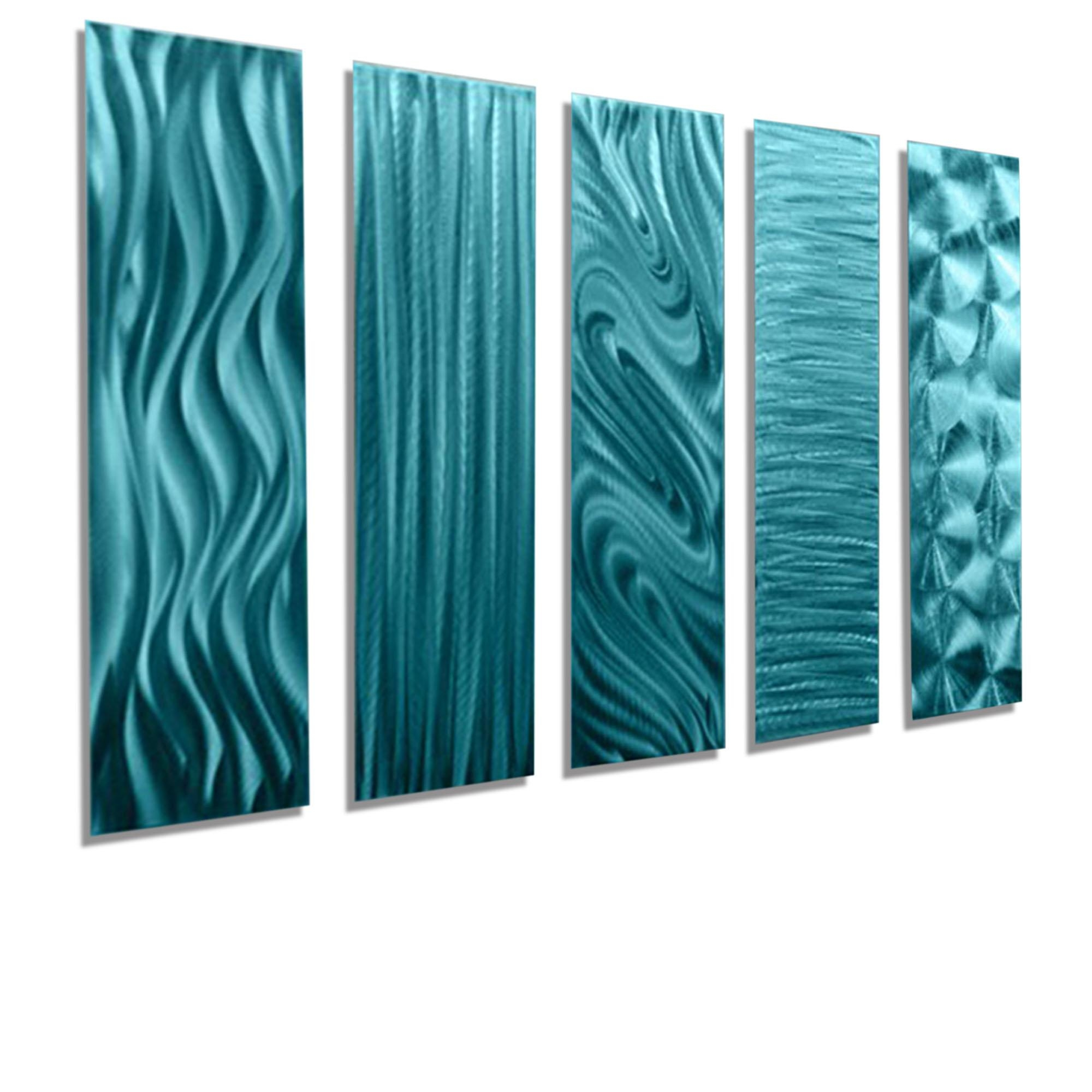 "5 Easy Pieces Aqua – Set Of Five 24"" X 6"" Metal Wall Art Accents Intended For Turquoise Metal Wall Art (View 19 of 20)"
