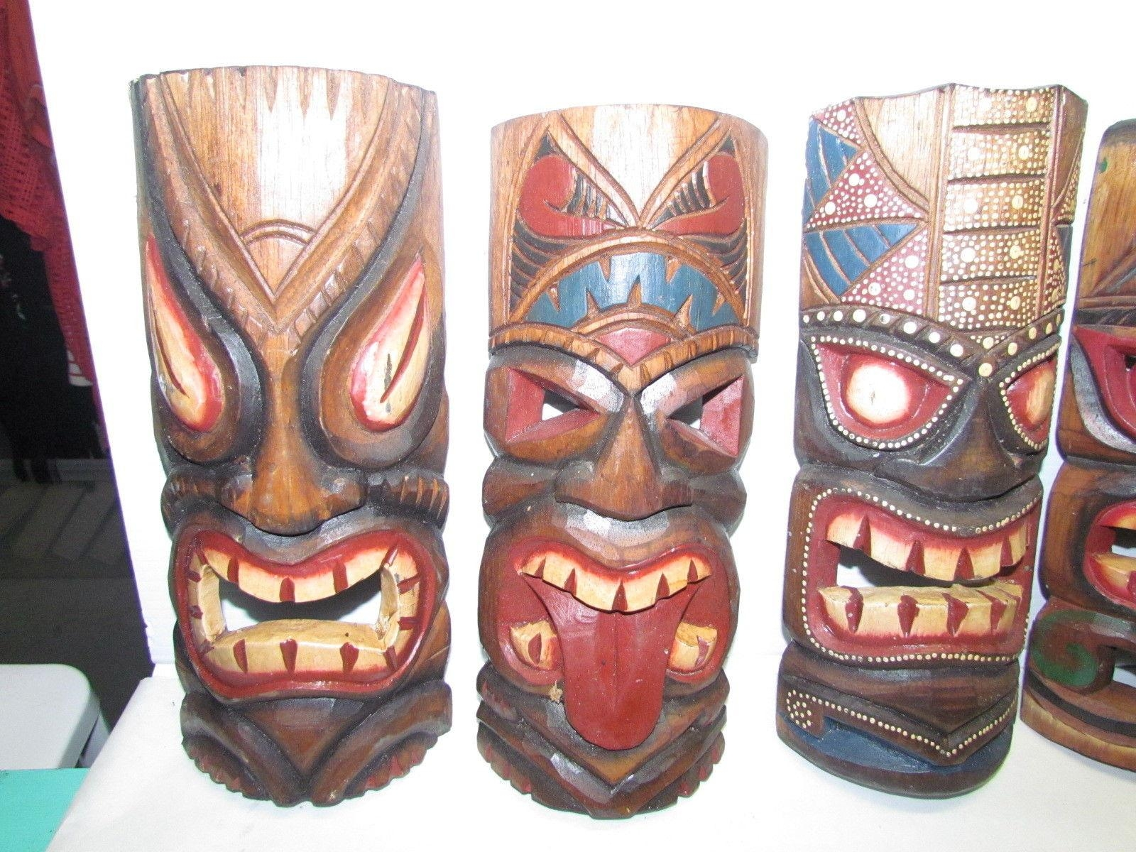 5 Large Tribal Mask Wood African Culture Wall Art Hand Carved inside Wooden Tribal Mask Wall Art