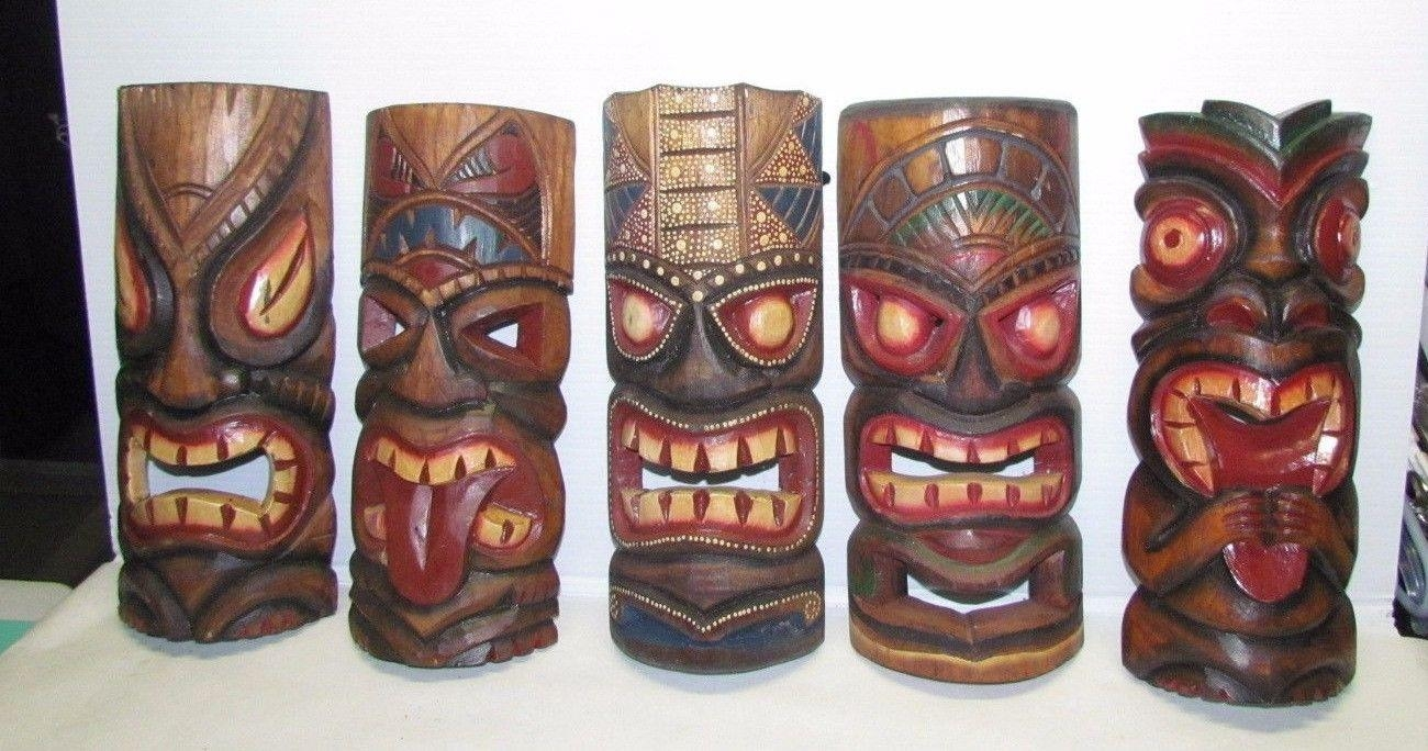 5 Large Tribal Mask Wood African Culture Wall Art Hand Carved Regarding Wooden Tribal Mask Wall Art (View 6 of 20)