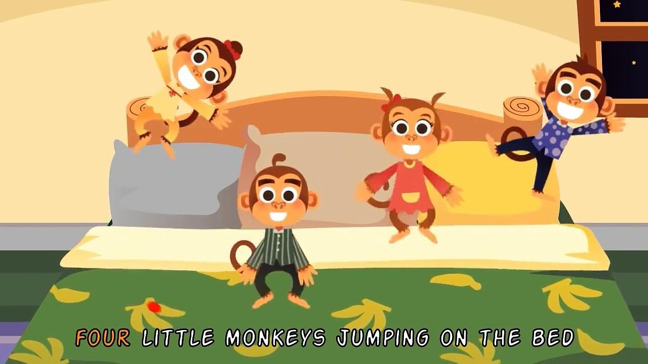 5 Little Monkeys Jumping On The Bed | Nursery Rhymes & Kids' Songs throughout No More Monkeys Jumping On The Bed Wall Art