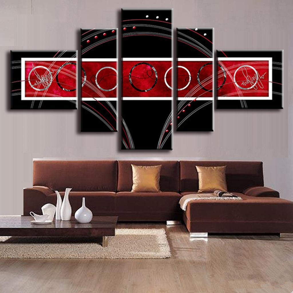 5 Pcs/set Modern Abstract Wall Painting Combined Circles Red Black Regarding Red And Black Canvas Wall Art (Image 4 of 20)