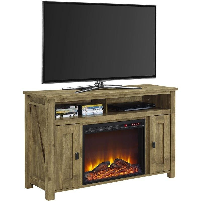 50'' Fireplace Tv Stand In Light Pine – 1794296Com With Best And Newest Pine Wood Tv Stands (Image 1 of 20)