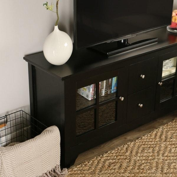 52-Inch Black Solid Wood Tv Stand - Free Shipping Today for Most Recent Solid Wood Black Tv Stands