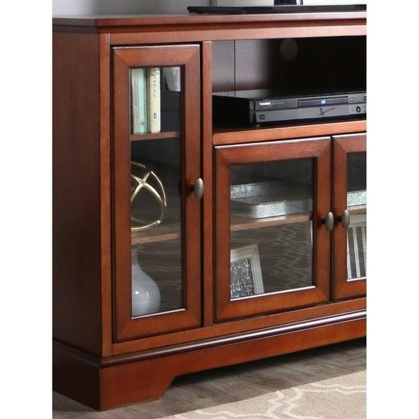 52 Inch Rustic Brown Highboy Style Wood Tv Stand – Free Shipping Intended For Best And Newest Rustic Wood Tv Cabinets (Image 3 of 20)
