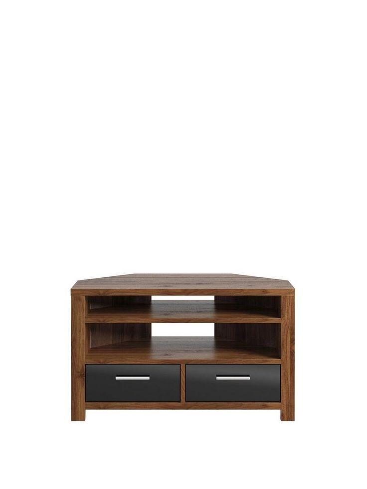 54 Best Tv Stand Images On Pinterest | Corner Tv Cabinets, Corner With Most Up To Date Walnut And Black Gloss Tv Unit (View 12 of 20)
