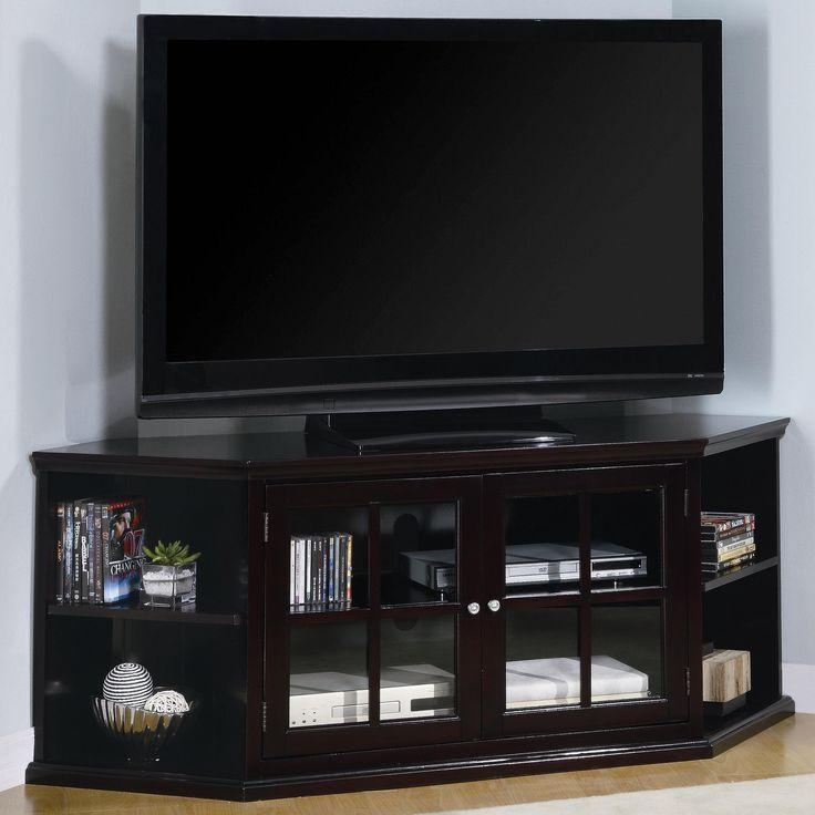 56 Best Television Stand Images On Pinterest | Tv Walls Pertaining To Most Up To Date Black Corner Tv Cabinets With Glass Doors (Image 2 of 20)