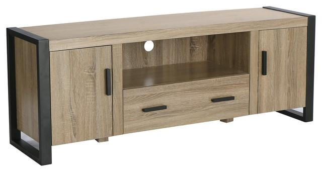 "60"" Ash Grey Wood Tv Stand Console – Industrial – Entertainment Throughout Most Popular Grey Wood Tv Stands (Image 4 of 20)"