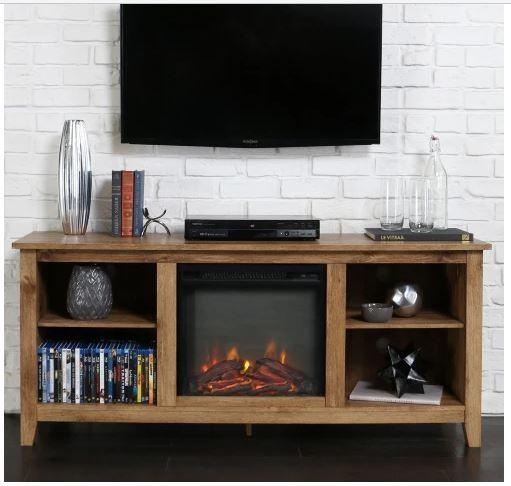 60 Inch Tv Stand Fireplace Insert Rustic Heater Electric Media Pertaining To Most Popular Rustic 60 Inch Tv Stands (Image 3 of 20)