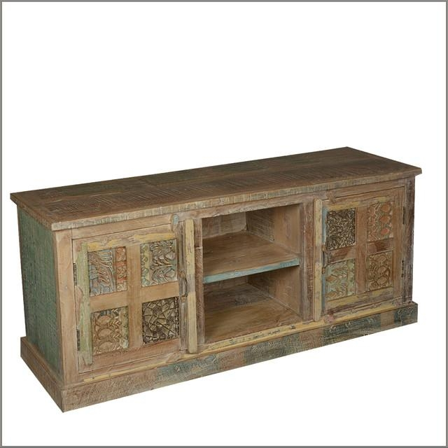 "60"" Media Console Handmade Reclaimed Wood Tv Stand For Most Recently Released Recycled Wood Tv Stands (Photo 11 of 20)"