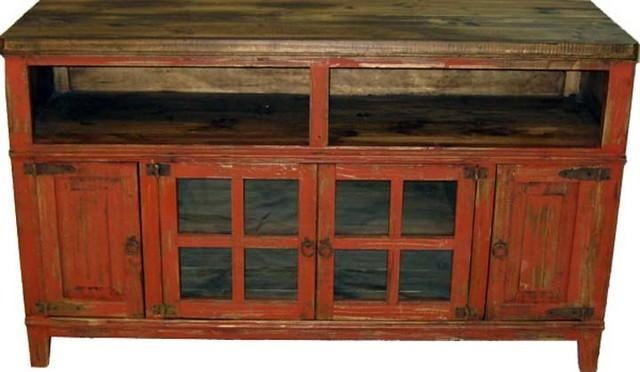 "60"" Rustic Tv Stand Console With Glass Doors – Farmhouse For Most Popular Rustic Tv Stands (Image 1 of 20)"