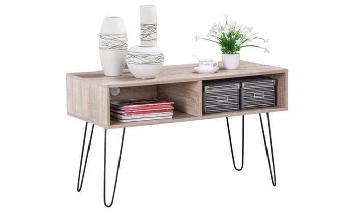 64% Off On Wood Tv Stand Metal Hairpin L | Groupon Goods Within Recent Hairpin Leg Tv Stands (View 17 of 20)